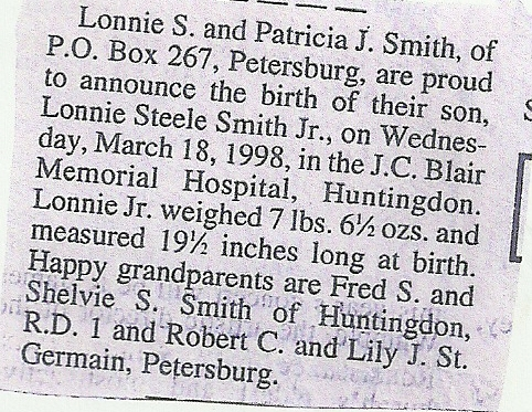 Lonnie Steele Smith, Jr. Birth Announcement