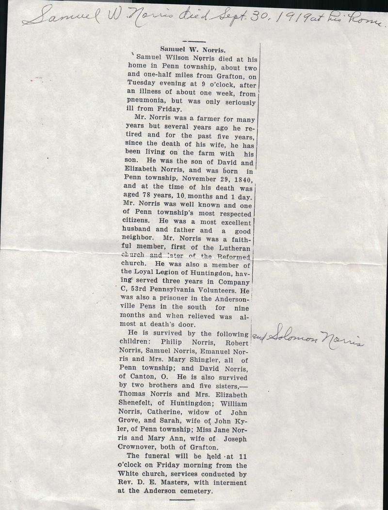 Samuel Wilson Norris 1919