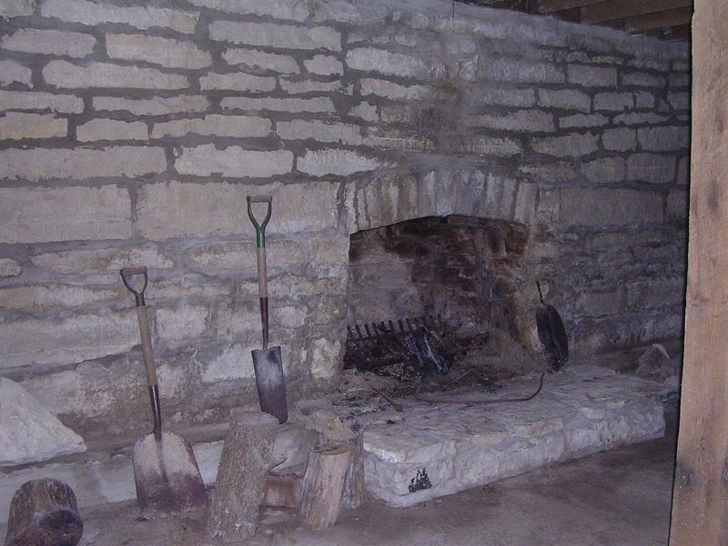 fireplace in basement