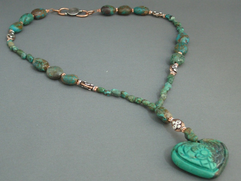 Chinese Turquoise and Copper Necklace