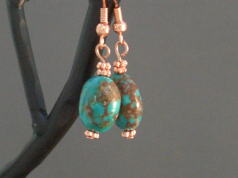 Chinese Turquoise and Copper Earrings