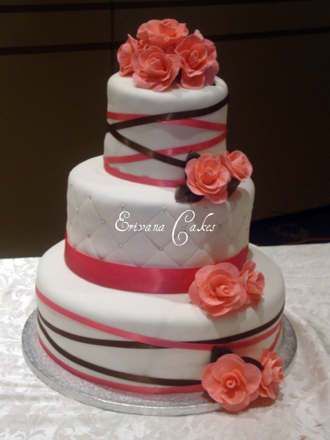 Pink and White Wedding cake 1 (W012)