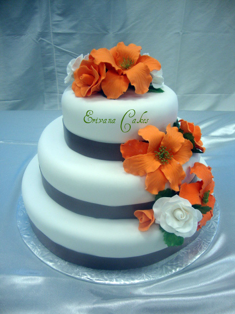 Orange And White Wedding Cake W009