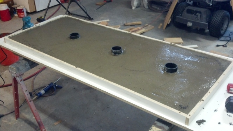 concrete countertop that will sit below the kettles