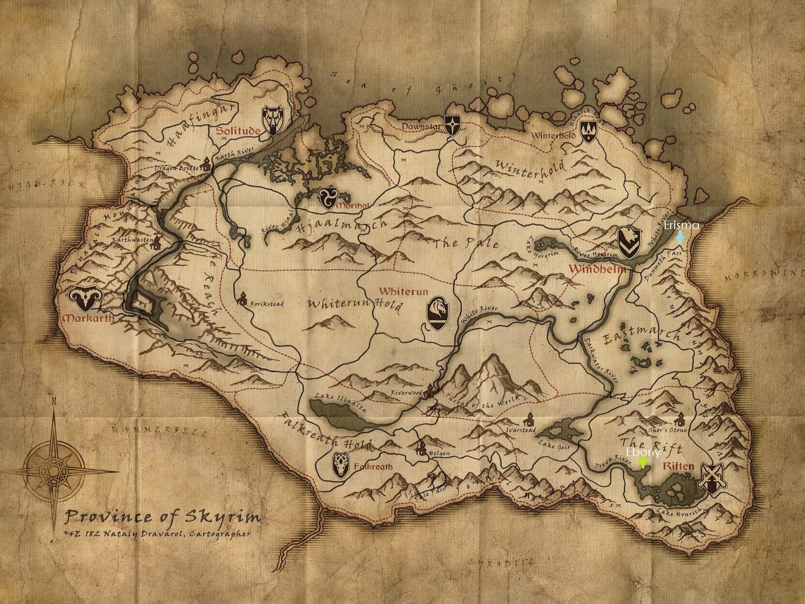 Map of where Erisma and Ebony live in Skyrim.