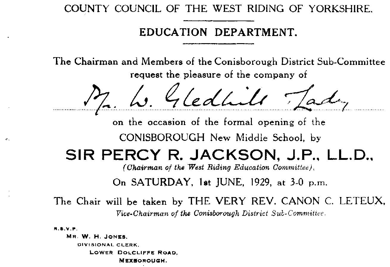Formal Invitation Card from June 1929