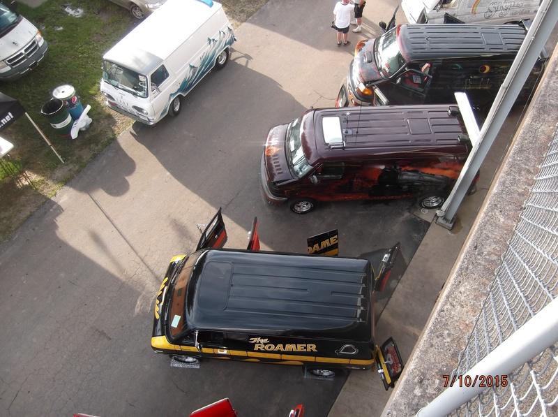 Vans from top of grandstand