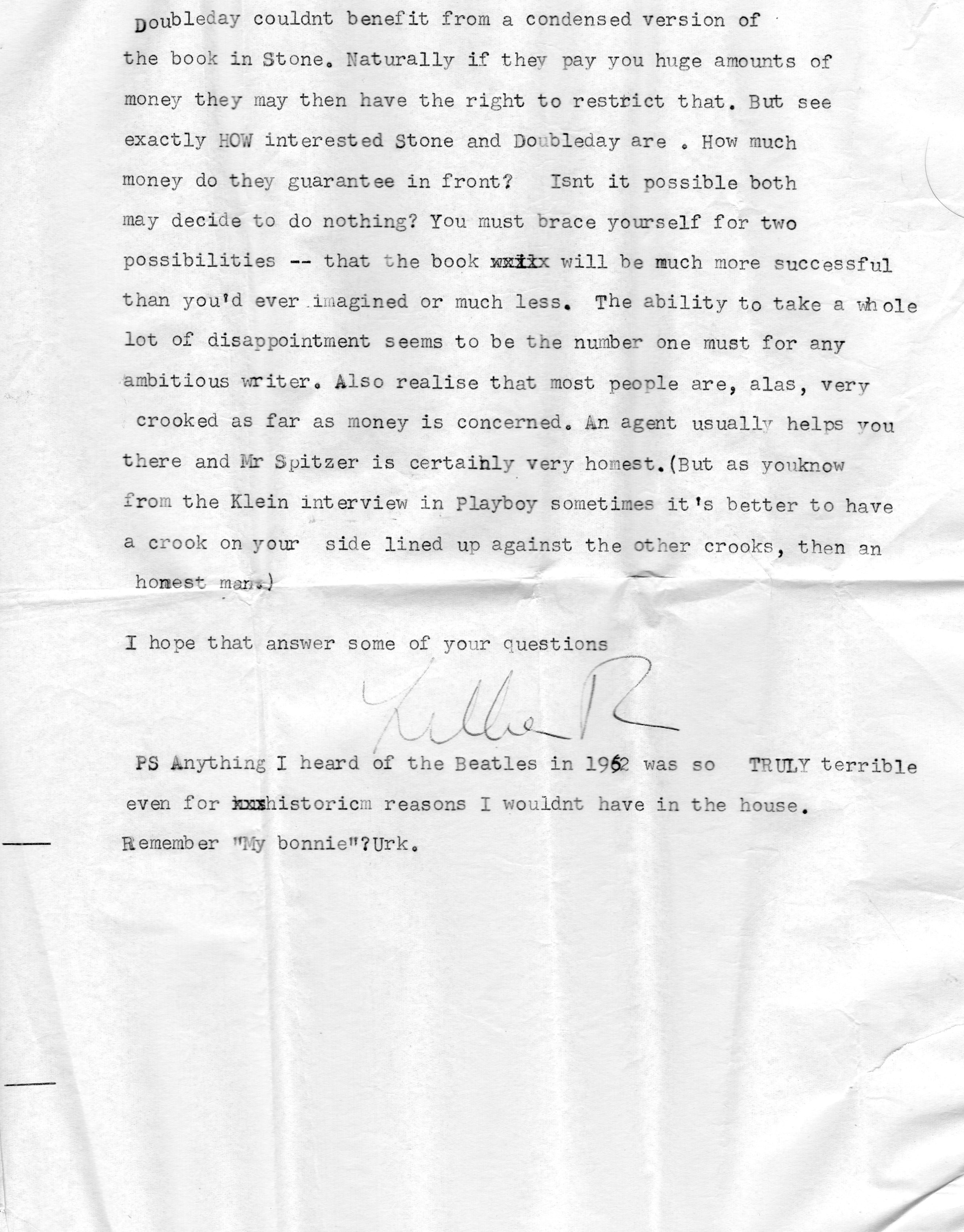Lillian Roxon letter with Beatles' Decca audition reference
