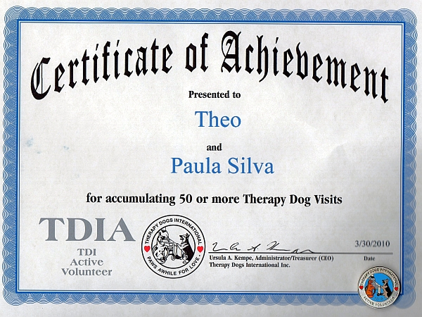 Theo's TDIA certificate