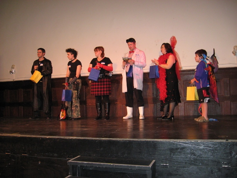 Costume contest participants and prizes