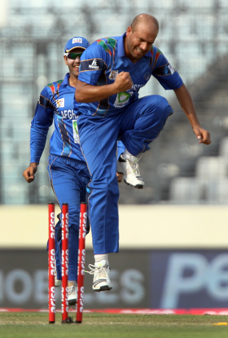 afghan all rounder mirwais kharotif get a big wicket