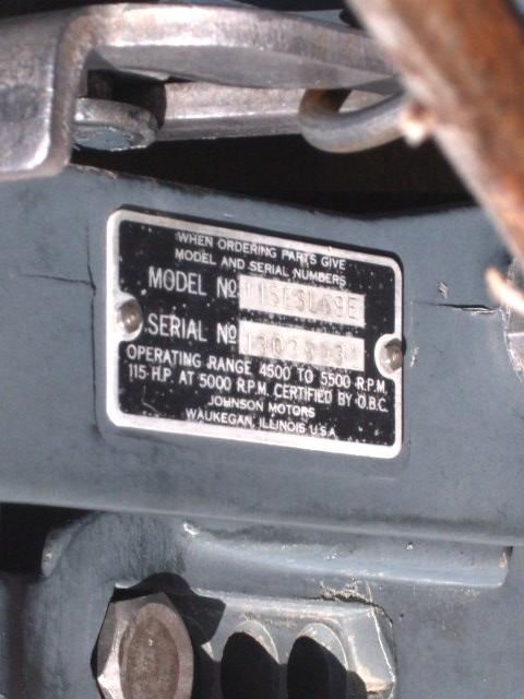 Plate on motor  1969  115 HP