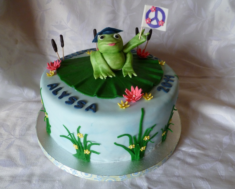 Frog Graduation Cake