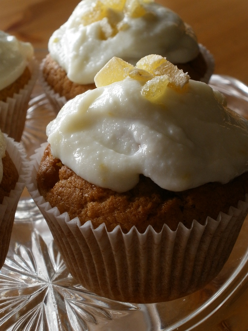 Double Ginger Cupcakes with lemon Ricotta Topping