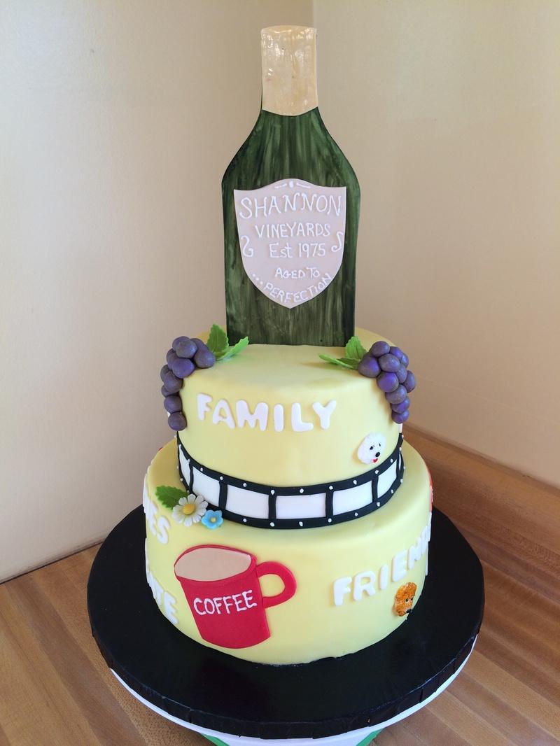 Wine theme 40th birthday cake