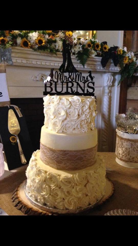 Roses and Burlap Wedding Cake