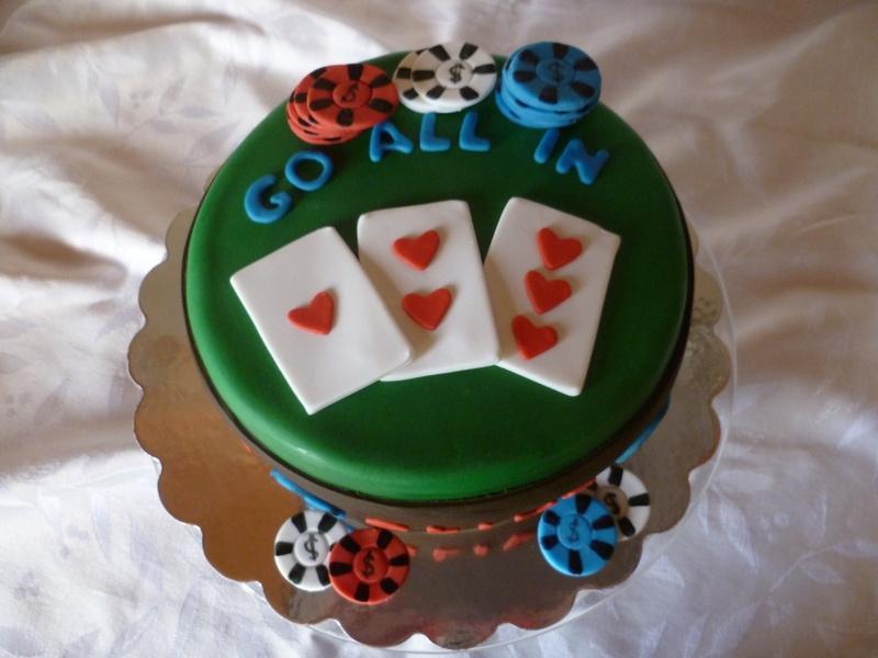 Go All In Poker theme birthday cake