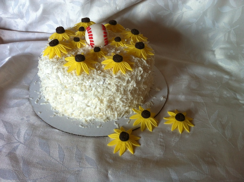 Black Eyed Susans and Baseball Cake