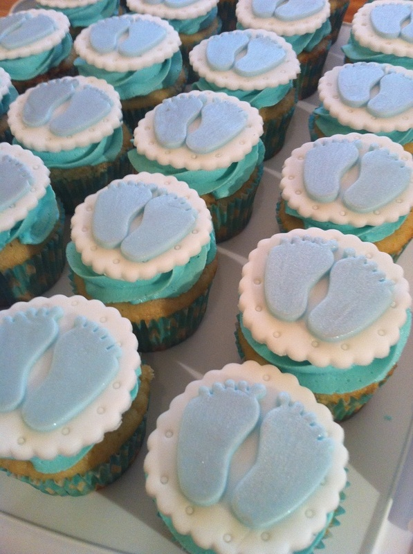 Tiny Feet Baby Boy Shower cupcakes