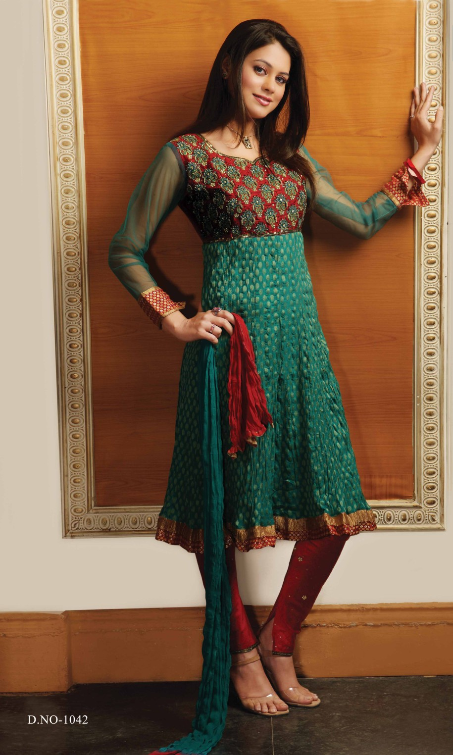 Masakali sleeves anarkali style churidar suit