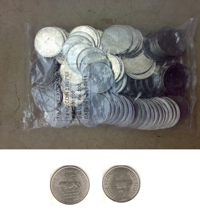 Pack of 100 coins of RBI Platinum Jubilee Rs.2 coins