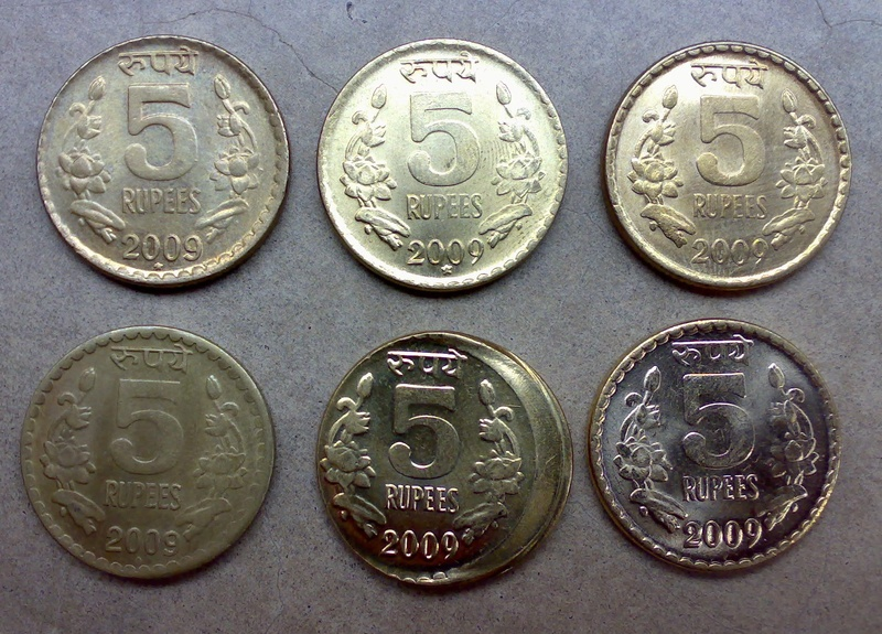 Various Differnt 2009 Rs.5 Coins