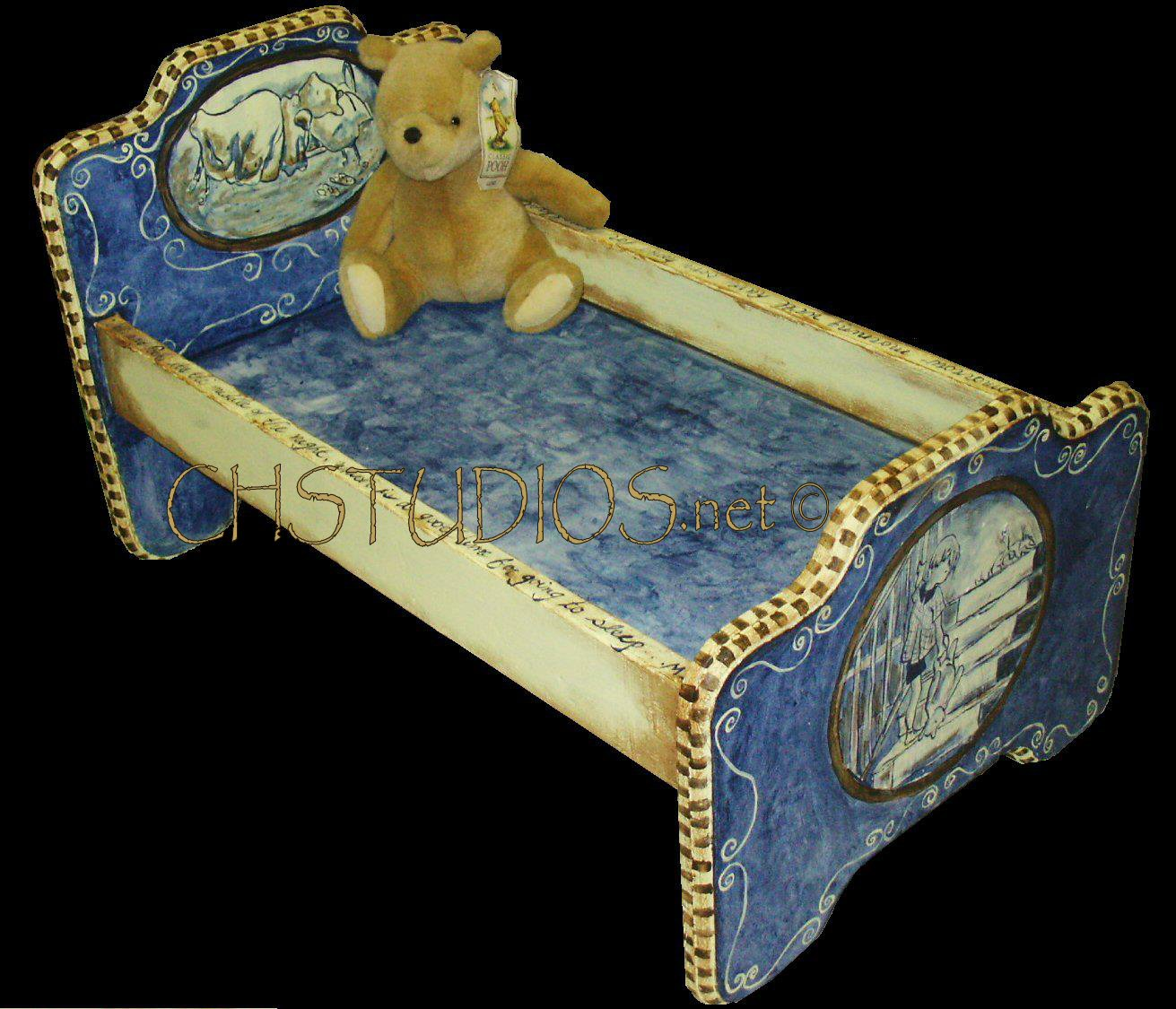 Hand Painted Toile style Pooh baby bed