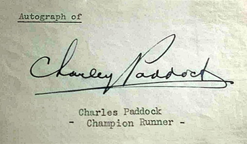 Autograph of Charley Paddock