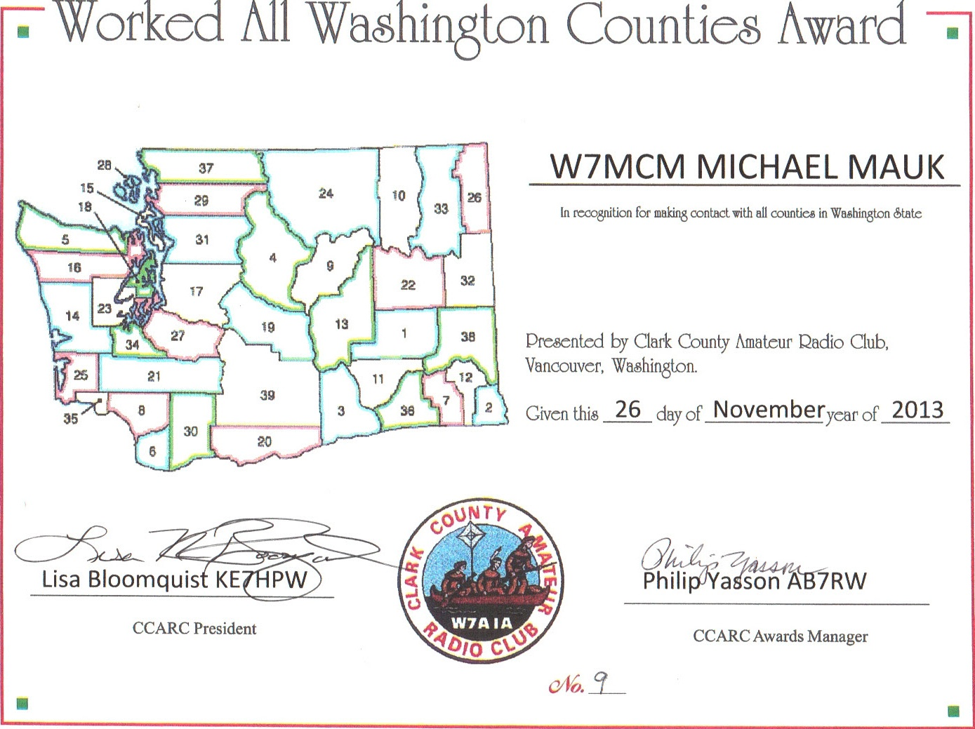 Worked all Counties WA