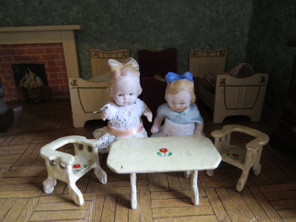 Two Tiny Dolls & Furniture