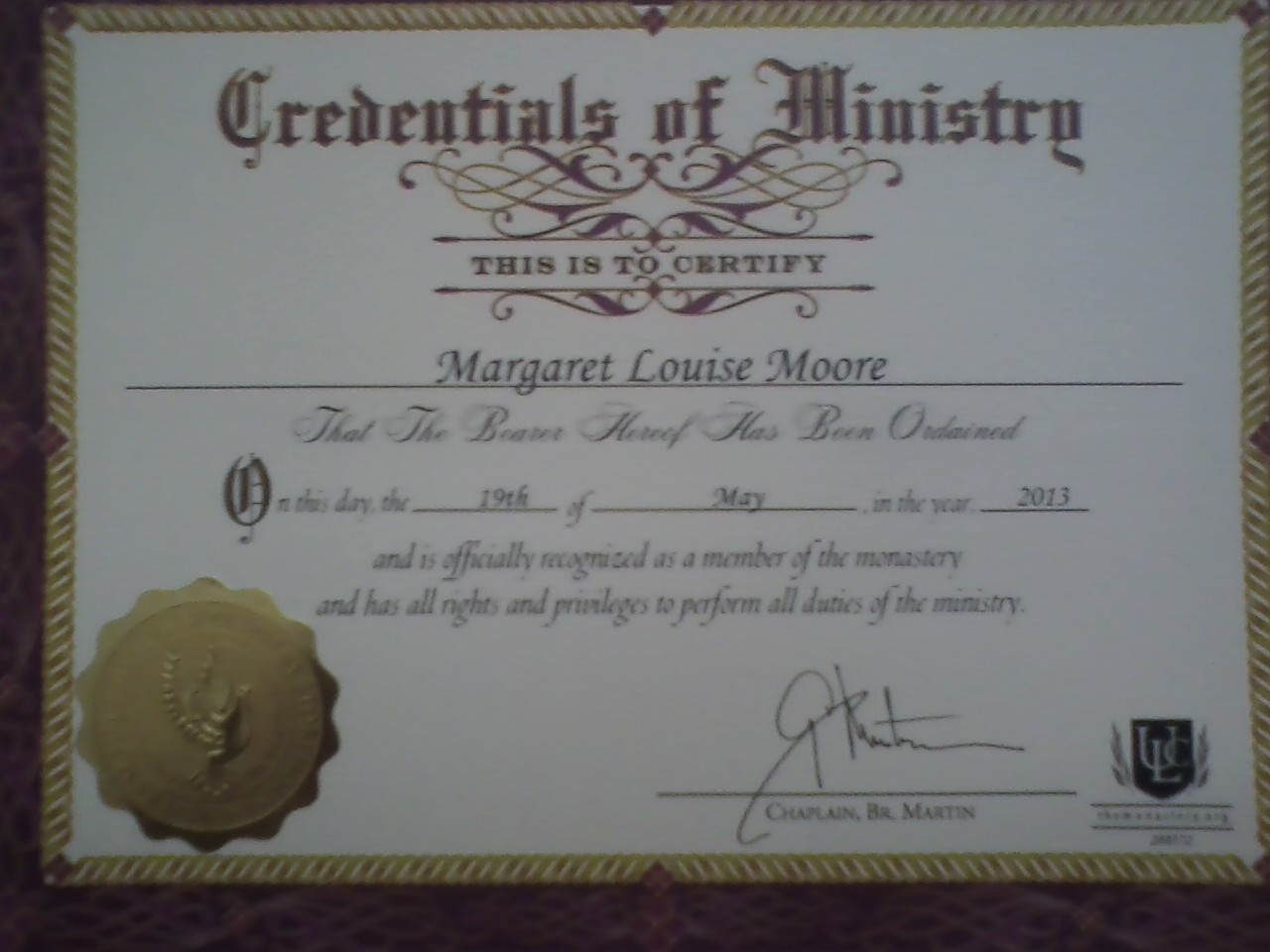 free ordination certificate download