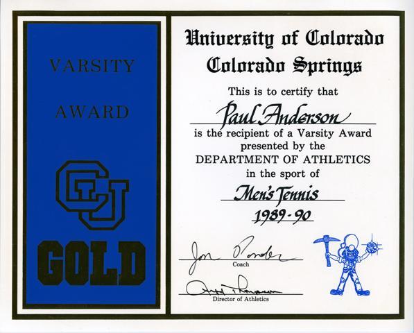 1st Varsity Award