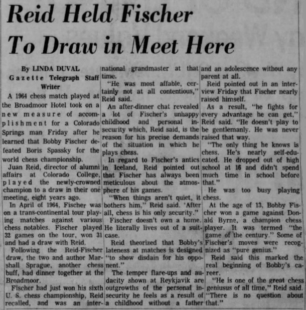 1964 Bobby Fischer Simul Article