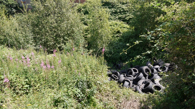 Tyres dumped close to where Wednesbury town station was