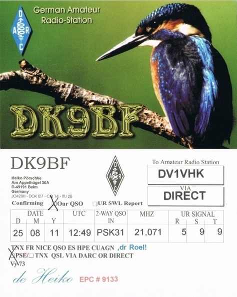 Click on the callsign to view their QSL cards: