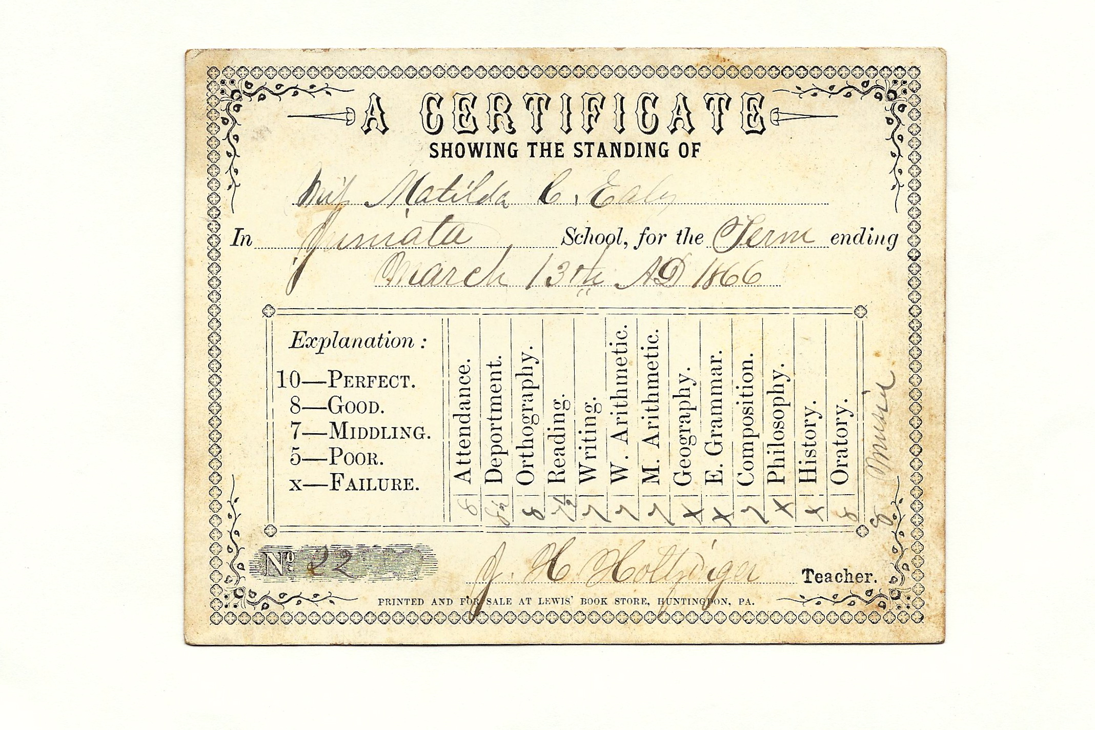 Matilda C Ealy's school report card  1866