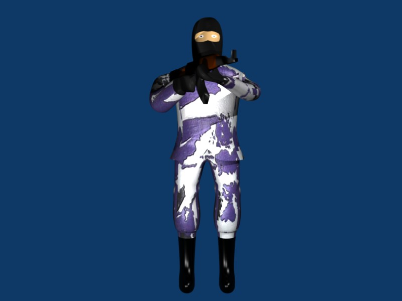 Guy with AK 47 Artic Camo. smooth+subsurf