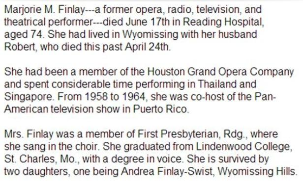 Taylor's grandma's obituary