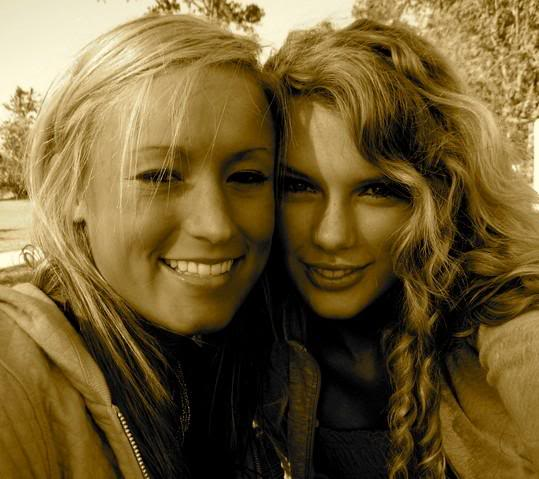 Taylor with a friend in high school