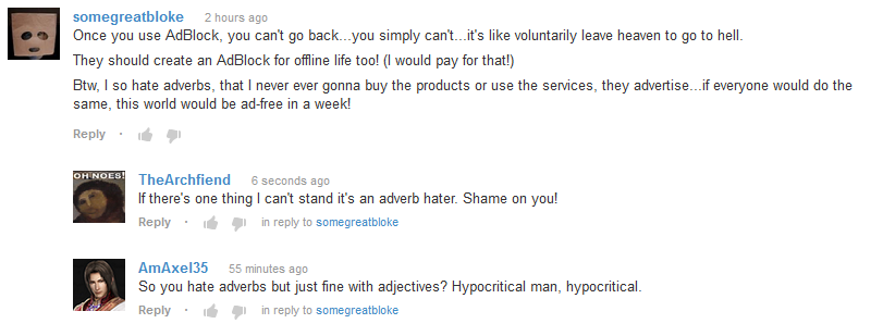 Adverb Haters.  The Scourge of Society.