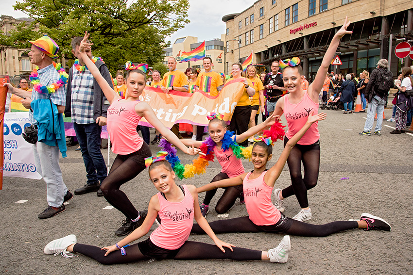 Gymnasts from Southampton took a break from their competition in Echo Arena to join in the fun at the Pride.
