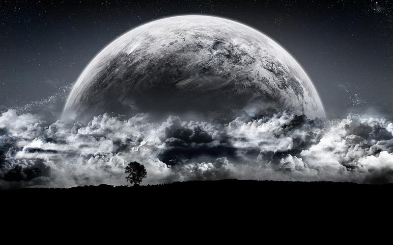 nature  dark moon sky - قمر مظلم في الليل
