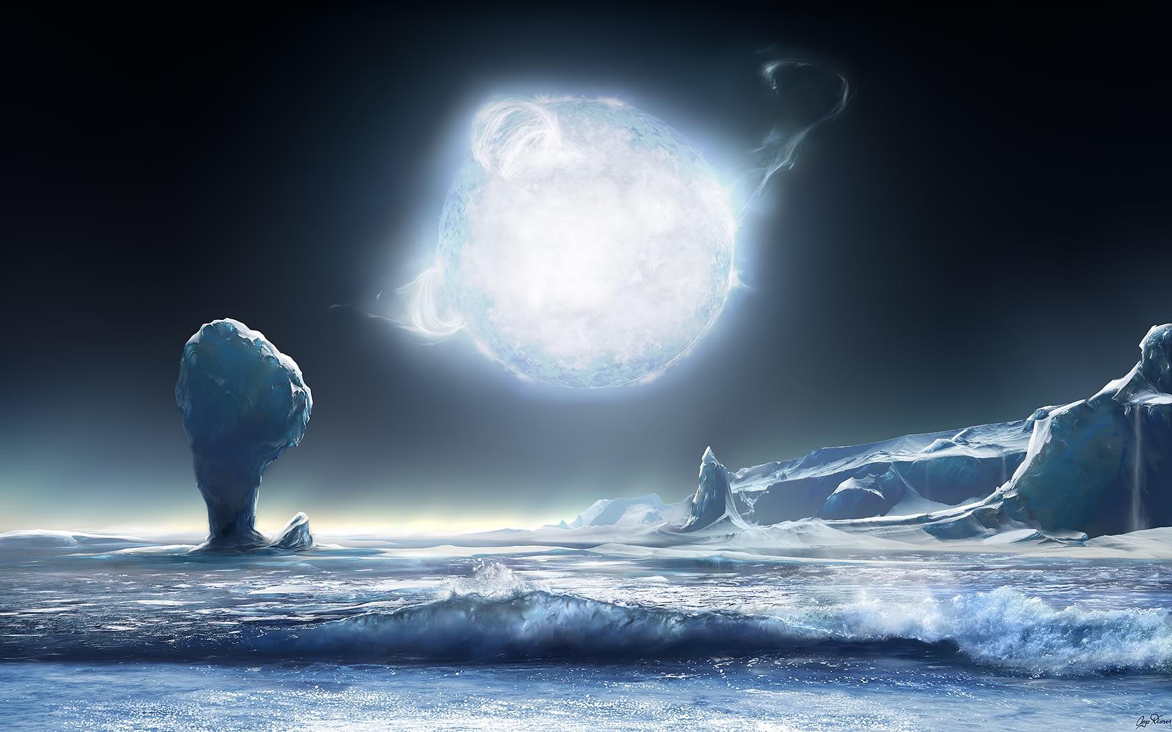 صورة خيال علمي لكوكب فضائي طبيعة خلابة