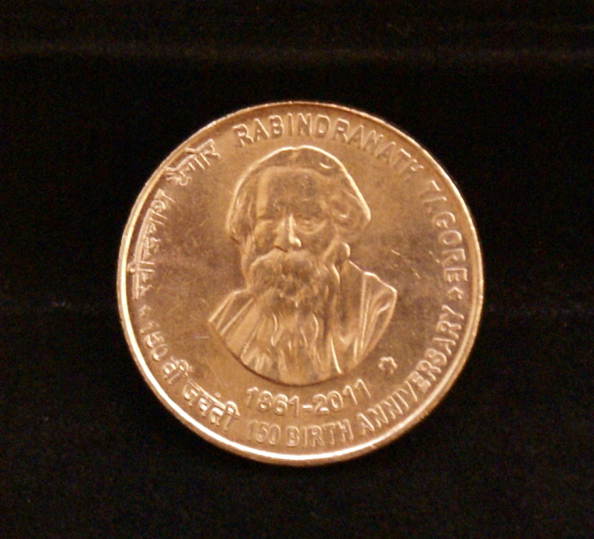 Rabindranath Tagore Five Rupees Hyderabad Mint