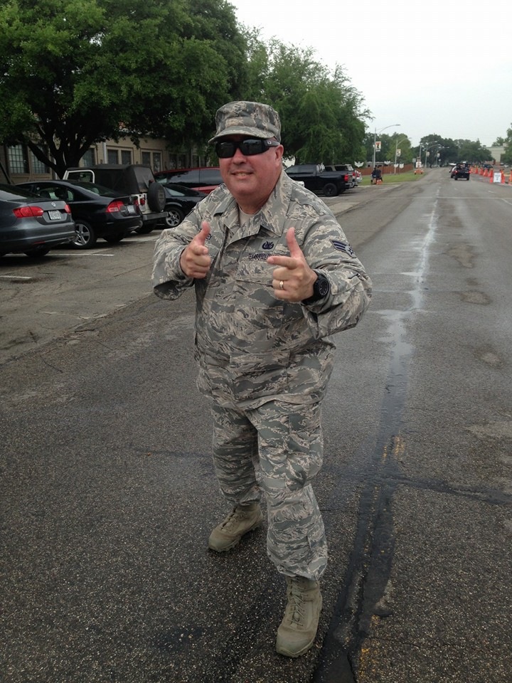 David directing traffic at Camp Mabry, TX