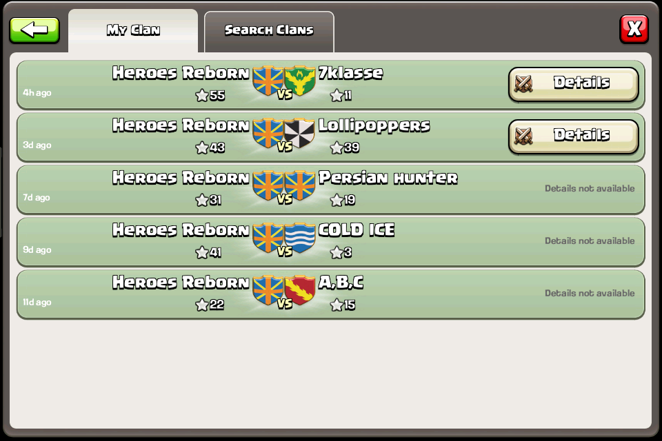 Join Heroes Reborn Undefeated in Clan Wars Two Wars Per Week