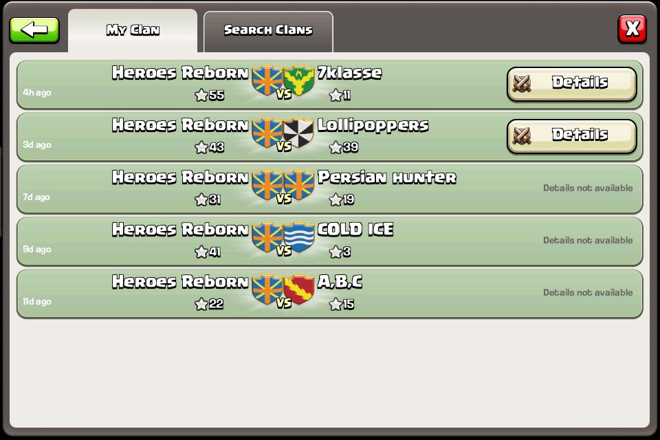 Join Heroes Reborn Undefeated in Clan Wars Two Wars Per Week