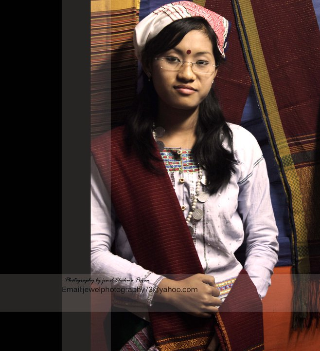 "A Tanchangya girl with the traditional dress called ""pait kabor"""
