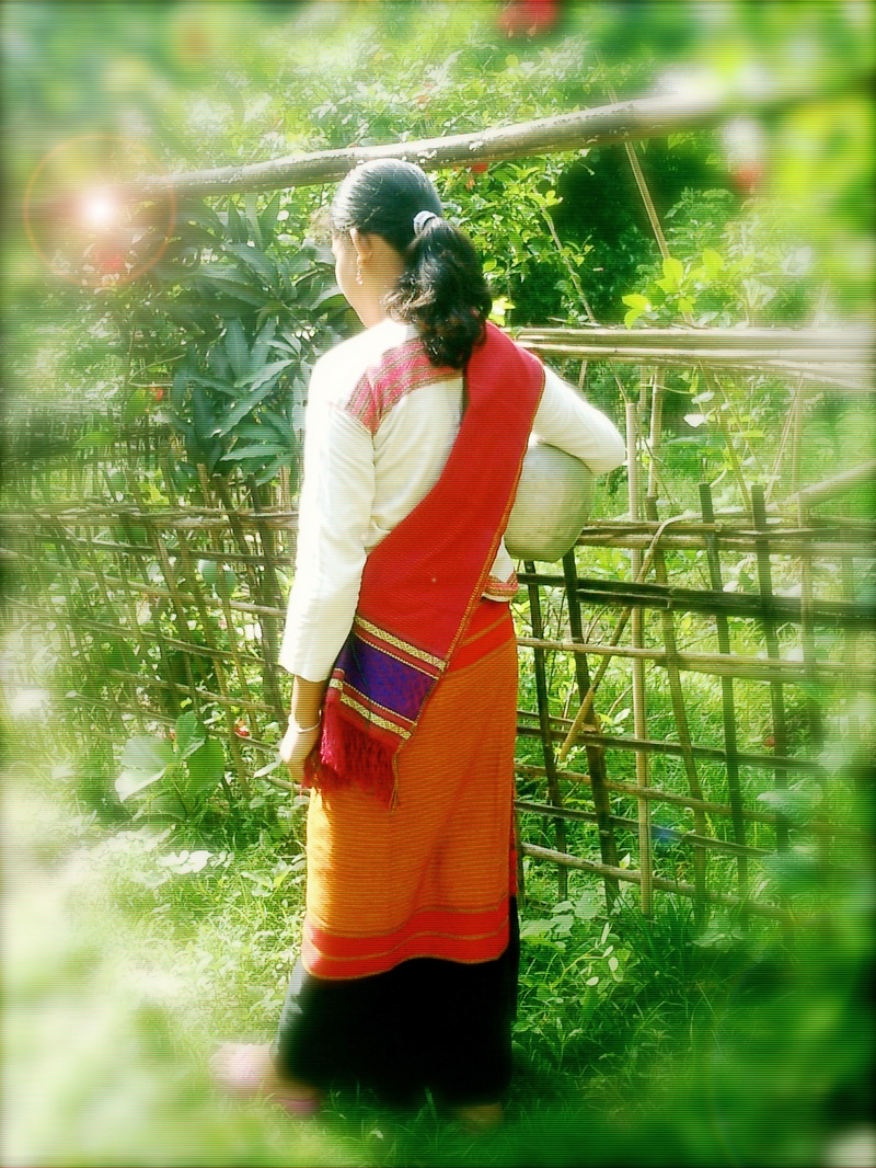 A Tanchangya girl with traditional dress going to fetch water for home use