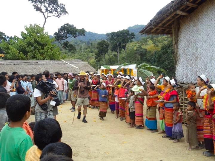 Chakma Circle chief Raja Devasish Roy-Wangza is being greeted by the Tanchangya community at a remote village of Bandarban